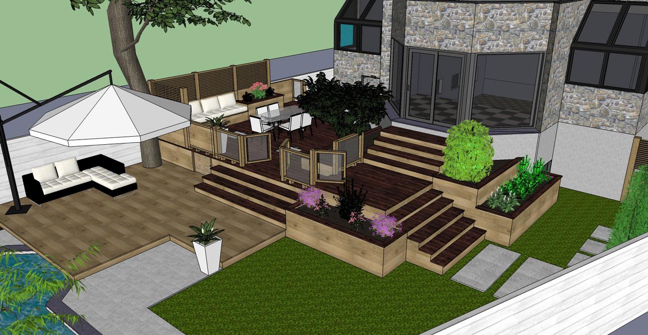 Hampstead Backyard Patio Amp Terrace 3d Visualization