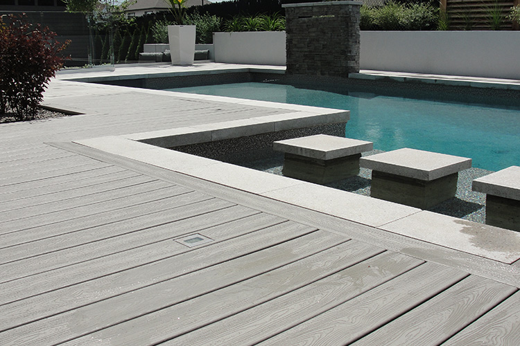 Wood deck around inground pool for Wooden pool