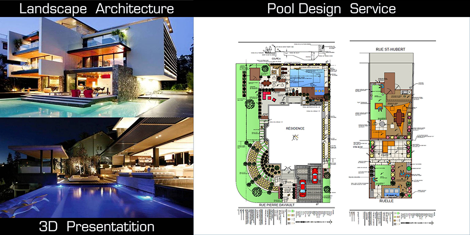 Minimalist modern pool ideas montreal outdoor living for Pool design services