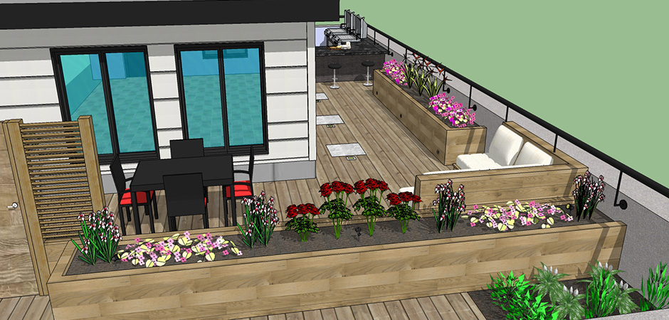 Rooftop deck design service montreal outdoor living Home plans with rooftop deck